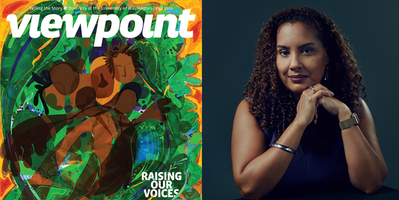 Left image is this issue's cover of Viewpoint Magazine depicting a painting of moving Black bodies surrounded by green and yellow. Right is a portrait of Alexes Harris.