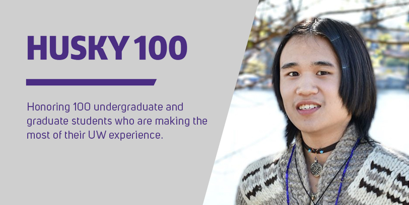 portrait of Fa'aumu Kaimana in front of a snowy landscape. To the left is text that reads: Husky 100: Honoring 100 undergraduate and graduate students who are making the most of their UW experience.