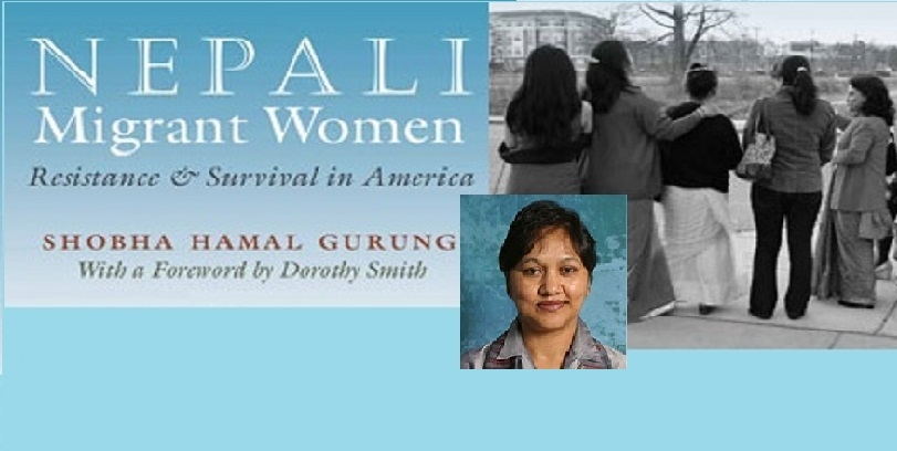 "Image of Dr. Shoba Hamal Gurung, and her book ""Nepali Migrant Women: Resistance & Survival in America"".  This is an announcement for an upcoming lecture on May 5th"