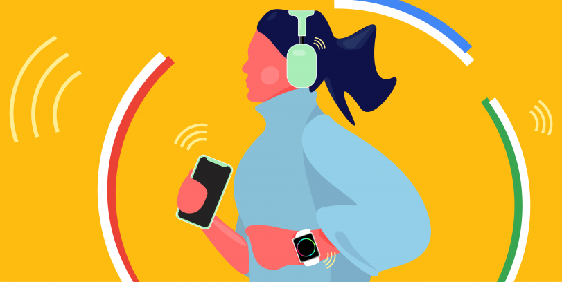 illustration of woman jogging against a yellow background: she is wearing headphones and holding her phone in her right hand while wearing a smart watch on her left wrist