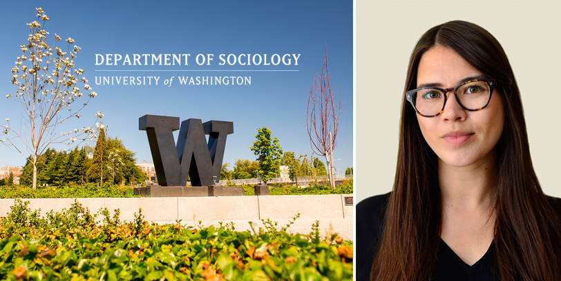 """Sociology department logo superimposed above the campus """"W"""" against a blue sky. Right side image is a headshot of Patricia Louie."""
