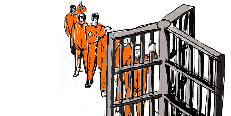 Illustration of inmates lining up behind bars