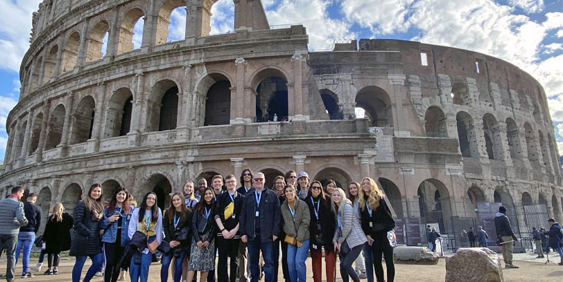Students in front of Coliseum