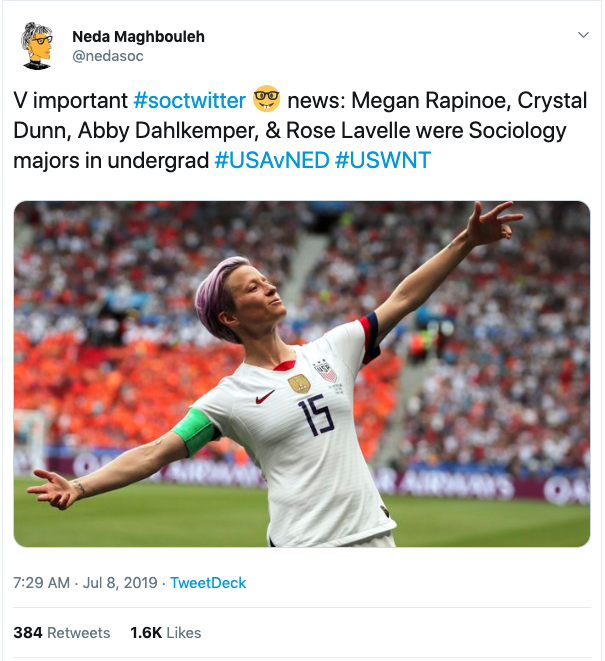 soctwitter: Sociology Dominates Among US Women's Soccer Team