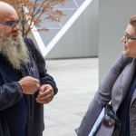Steven Long and his attorney Ali Bilow after a State Court of Appeals hearing in Seattle on Nov. 7, 2019. Long took the city of Seattle to court when the truck he was living in was impounded. His case is now before the Washington state Supreme Court.