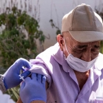 A man receives a vaccination in East Hollywood, Los Angeles last week