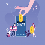 """Large smartphone with the text """"donate,"""" two smaller people walking over with a credit card and coin. Above, a large hand is reaching down toward the phone with a coin in it."""