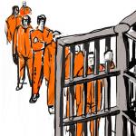 inmates lining up behind bars