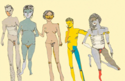 colorful line drawing of people standing naked together