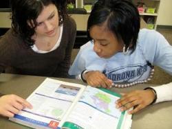 Jessica Steger tutors a student