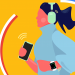 illustration of woman jogging while wearing headphones, holding her phone in her right hand, and wearing a smart watch on her left wrist